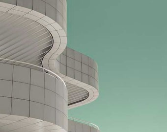 Architecture Print, Getty Museum, Mint Green, White, Modern, Abstract, Getty Los Angeles Photography