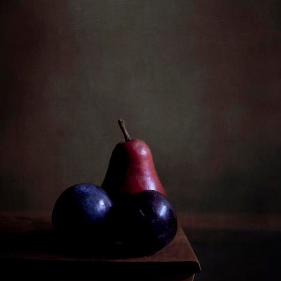 Rustic Kitchen Decor, Blue Plums, Red Pear, Brown, Food Photography, Neutral, Dark, Rustic, Fruit Photo