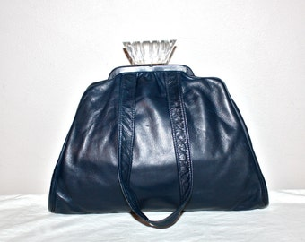 Leather LUCITE Vintage Handbag Navy Petite Tote