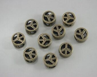 10 pcs.Zinc Antique Brass Peace Beads Charms Pendants Decorations Findings 10 mm. Bd Br10 RC