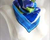 Bright Blue Turquoise Purple Lime Green Square Silk Blend Vintage Vera Scarf