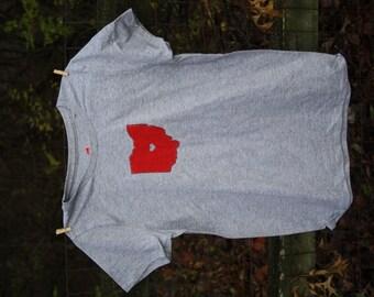 Adult Unisex Heart on Columbus T-shirt, Ohio State Buckeye Love,
