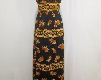 Vintage 1970's Mod CIRELLE California Maxi Dress Gown w/Empire Waist -Sexy Kon Tiki Frock