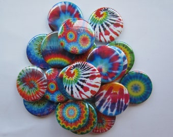 "set of 20 tie dye 1"" or 1.25 inch buttons  pinback flatback hollowback or magnet"