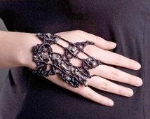 RARE Macrame GLOVE/BRACELET Hand-knitted,Macrame Bracelet,Macrame Jewelry,Black Gloves,Short Black Gloves,Steampunk Glove,Black Satin Gloves