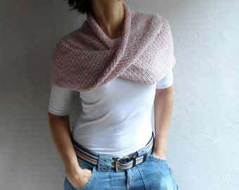 Knit Chunky Loop Scarf Cowl Cape Hood Shawl Neckwarmer in Pastel Pink Gift for her Winter Outfit