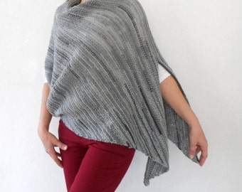 Plus Size Poncho Over Size Tunic Hand Knitted Cape Spring Fashion Gray Grey