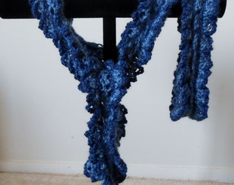 Crocheted scarflette in blues with matching head band//accessories//gifts for her//scarf set