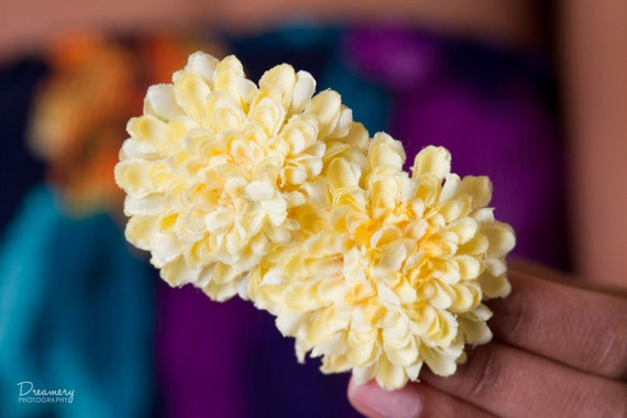 Double Lemon // Small Yellow Pom Pom Chrysanthemum Hair Flower Clip for Women, Girls, and Newborns // Perfect Natural Hair Accessory