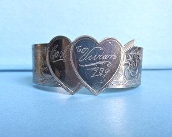 Vintage hand-engraved heart bracelet Carl to Vivian 1939