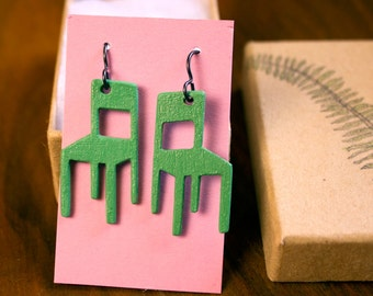 Wood Laser Cut - Jadeite Green Chair Earrings - Free Shipping