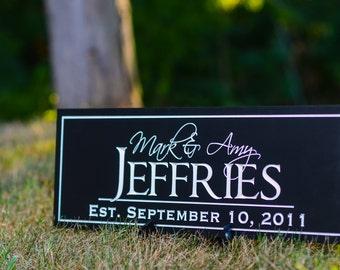 Family Name Sign Plaque Established Sign Last Name Sign 7x20 Carved Engraved