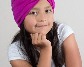 purple child turban headband