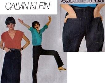 Calvin Klein High Waist Jeans & Skirt Pattern Vogue 2442 80s Vintage Sewing Pattern Size 12 UNCUT Factory Folded