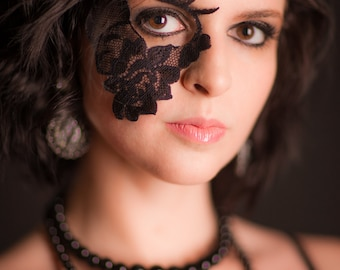 Halloween Masquerade Party Mask Tattoo Black Lace