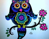 Bright Colorful Whimsical Owl Drawing Children's Style Fantasy Art CUSTOM Color Commissioned Artwork HALF Page Cute Decor for a Child's Room