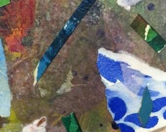 original mixed media collage on paper watercolor Blue Delft