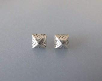 Celtic Stud Earrings - silver stud earrings , stud earrings , square earrings , pyramid earrings , silver earrings , engraved earrings