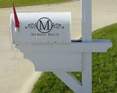 Swirly Monogram Address Mailbox 11x5.25  Vinyl Wall Lettering Words Quotes Decals Art Custom