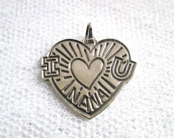 Sterling Silver Nana Heart Pendant Charm Mexican Silver