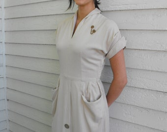 50s Linen Dress Vintage Natural Neutral 1950s S M