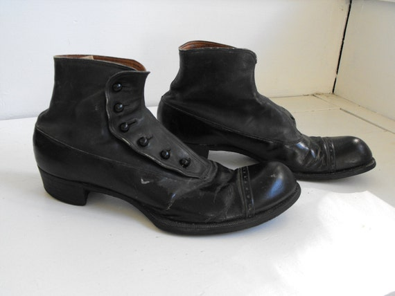 victorian edwardian mens shoes black vintage button made