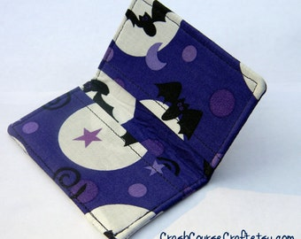 Card Wallet - Bats and Moons - business card, credit card, gift card holder Halloween
