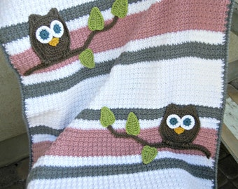 Owl Baby Blanket Pink and Gray Girl Baby Shower Gift