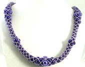 Royal Purple Necklace Woven from Glass Pearls and Seed Beads