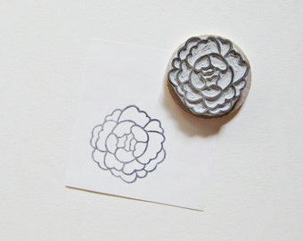 Peony Hand Carved Rubber Stamp