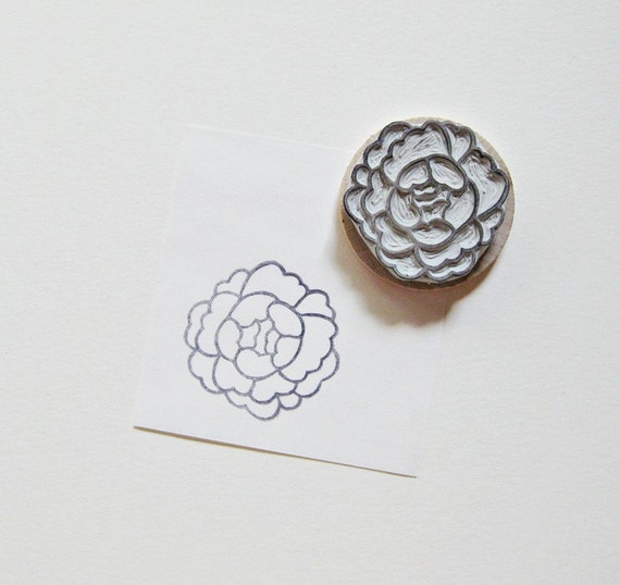 Peony hand carved rubber stamp by extase on etsy