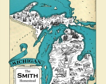 CUSTOM MICHIGAN Map MI Map Art Print Vintage Map Personalized Wedding Housewarming Gift Retro Home Decor Wall Decor Map of Michigan Detroit