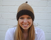 Handmade Feeling Nutty Brown and Tan Acorn Beanie Hat