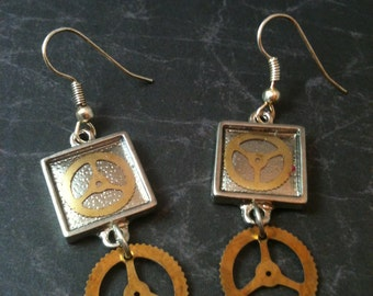 Square Silver Steampunk Earrings with Brass Gears