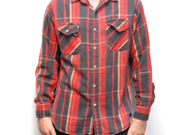 NIRVANA vintage PLAID red and black cotton FLANNEL