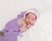 Newborn photo prop, newborn hat, newborn boy, newborn girl, knit newborn hat, newborn props, newborn bonnet with little roses.