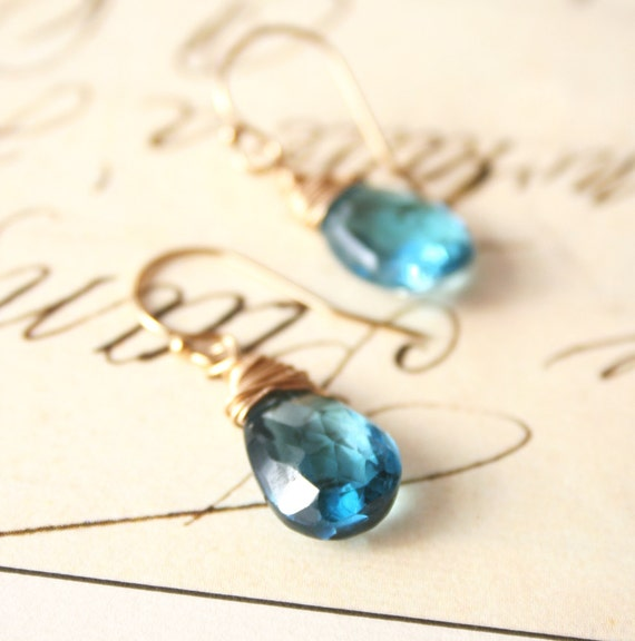 Blue Drop Earrings, Gemstone Jewelry, London Blue Topaz