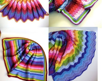 Technicolor Crochet Blanket Patterns- All Four Patterns- One Low Price
