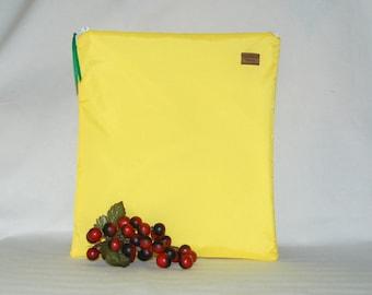 Gallon Size Bag - Yellow Nylon - Reusable  - Zippered Bag - Zipper Closure
