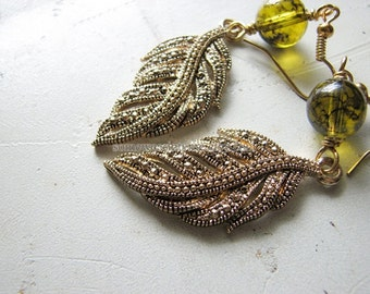 Leaf earrings gold | fern | green dangle | botanical | woodland