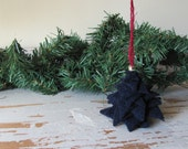 Navy Blue Rustic Country Cabin Holiday Tree Ornament Recycled Wool Cottage Farmhouse Solstice December Home Decor Christmas Xmas Ornament
