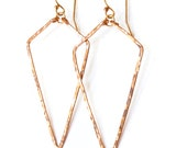 Arrowhead Hoops - Handmade Diamond Shaped Hoops in 14K Gold Filled, Rose Gold Filled, or Sterling Silver