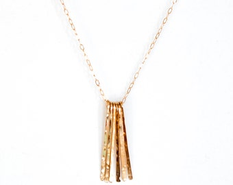 "Long Gold Fringe Necklace / 22"" INCH - 14k Gold Fill, Rose Gold Fill, Sterling Silver Fringe Chain Necklace / 22 "" Different Strokes Pendant"
