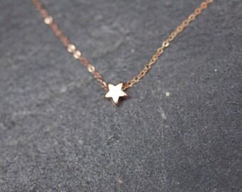 ROSE GOLD star necklace on delicate rose gold chain, dainty star necklace, everyday necklace