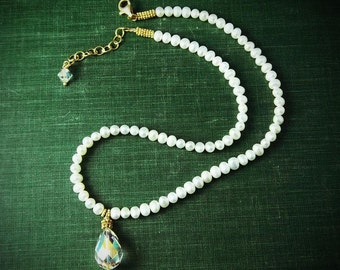 Fresh Water Pearls with Swarovski Crystal Pendant Necklace