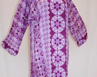 1990's Caftan Orchid White Purple Plum Lavender Maxi Large Vintage Retro 90s Hippie Boho Loungewear Yoga Meditation Zen Lotus