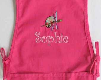 Personalized Kids Smock - Monogrammed Childs Art Apron - Paint Palette