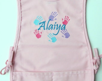 Personalized Kids Art Smock - Monogrammed Childs Art Apron - Painting Apron - Hand Prints