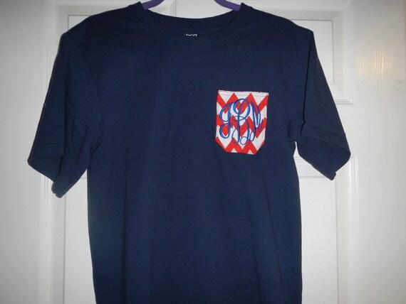 Patriotic pocket tee t shirt custom monogram usa for Custom t shirts with pockets