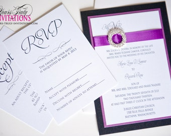 Sample Dark Berry Purple and Shimmer Black Crystal Buckle Wedding, Mitzvah or Party Invitation Personalized in your colors